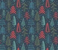 与华丽圣诞树的无缝的样式 免版税库存照片