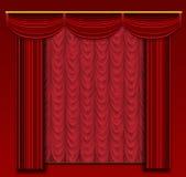 与华丽背景和墙壁的阶段窗帘。 免版税库存照片
