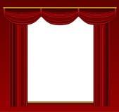 与华丽背景和墙壁的阶段窗帘。 免版税库存图片