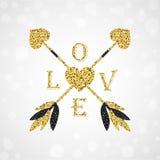与华伦泰心脏的华美的金黄丘比特箭头 免版税图库摄影