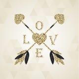 与华伦泰心脏的华美的金黄丘比特箭头 库存照片