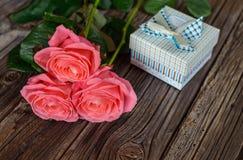 与华伦泰礼物的三朵新鲜的桃红色玫瑰 免版税库存照片