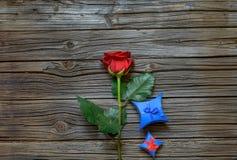 与华伦泰礼物的唯一红色玫瑰 免版税库存照片