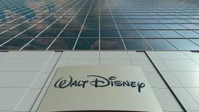 与华特・迪士尼的标志板生动描述商标 大厦门面现代办公室 社论3D翻译 库存图片