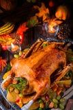 与南瓜和果子装填的圣诞节鹅 库存图片