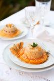 与南瓜奶油的意大利煨饭 库存图片