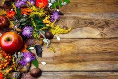 与南瓜种子的愉快的感恩装饰在木背景 免版税库存图片