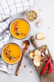 与南瓜籽、多士和调味料的传统秋天和冬天盘,热和辣南瓜汤在一个陶瓷碗 免版税库存照片