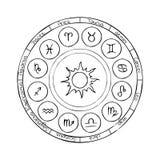 与占星标志的黄道带圈子 皇族释放例证