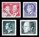 与卡尔十六世・古斯塔夫, serie国王画象的四邮票  库存图片