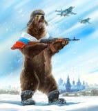 与卡拉什尼科夫攻击步枪的熊 免版税库存图片