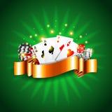 与卡片传染媒介的豪华赌博娱乐场背景 免版税库存照片
