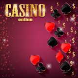 与卡片和金钱的赌博娱乐场背景 库存图片