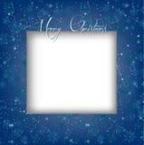 与卡片模板的蓝色圣诞节冬天雪花背景 皇族释放例证