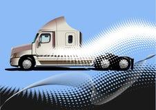 与卡车图象的蓝色抽象背景 库存图片