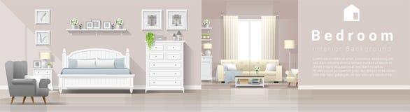 与卧室和客厅组合的现代乡间别墅内部背景 向量例证