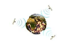 与卫星的地球。 免版税图库摄影