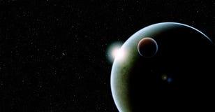 与卫星的行星在满天星斗的背景 免版税图库摄影