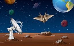 与卫星盘和太空飞船的空间场面 免版税图库摄影