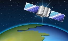 与卫星飞行的背景场面在地球 免版税图库摄影