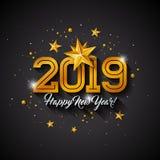 与印刷术信件、金保险开关纸星和装饰球的新年快乐2019年例证在黑背景 皇族释放例证