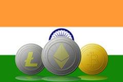 与印度旗子的Litecoin Ethereum Bitcoin cryptocurrency在背景 免版税库存图片