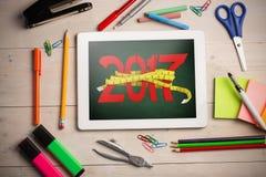 与卷尺的数位引起的3D新年的综合图象 免版税库存图片