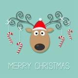 与卷曲垫铁、红色帽子和垂悬的棍子棒棒糖的逗人喜爱的动画片鹿 圣诞快乐蓝色背景卡片平的设计 免版税库存图片