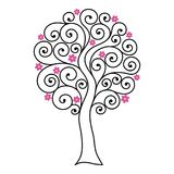 与卷毛的开花的树 向量例证