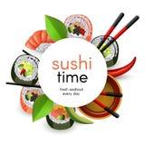 与卷的日本寿司横幅和ebi nigiri用在白色背景和筷子隔绝的酱油 向量例证