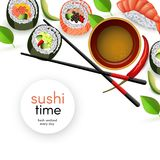 与卷的日本寿司横幅和ebi nigiri用酱油和筷子 向量例证