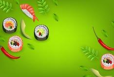 与卷的日本寿司横幅, ebi nigiri、鲕梨和在梯度隔绝的辣椒绿化背景 皇族释放例证