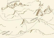 与历史的寓言地图的年迈的幻想葡萄酒样式 免版税图库摄影