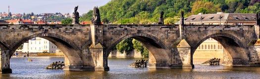 与历史的查理大桥的布拉格,捷克地平线 在伏尔塔瓦河河的小船巡航 免版税库存图片