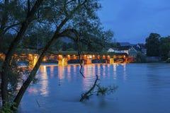 与历史的桥梁和Fridolins大教堂的莱茵河 免版税图库摄影