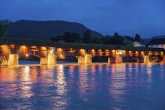 与历史的桥梁的莱茵河在坏Säckingen 库存图片