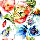与原始的春天花的无缝的墙纸 免版税库存照片