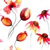 与原始的红色花的无缝的样式 库存照片