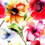 与原始的花的无缝的墙纸 免版税库存图片