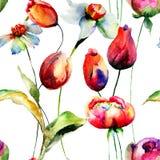 与原始的花的无缝的样式 免版税图库摄影