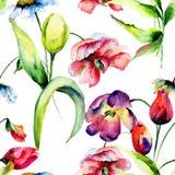 与原始的花的无缝的样式 图库摄影