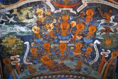 与原始的17世纪壁画的教会内部 免版税库存照片
