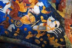 与原始的17世纪壁画的教会内部 免版税图库摄影