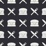 与厨具和快餐象的无缝的平的样式 免版税库存图片