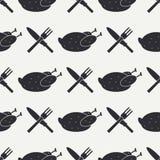 与厨具和食物象的无缝的平的样式 库存照片