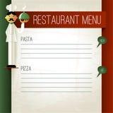 与厨师和板材的传染媒介意大利菜单 菜单模板 免版税库存图片