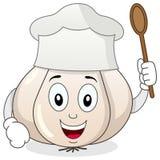 与厨师帽子漫画人物的大蒜 免版税库存图片