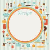 与厨房和餐馆的食谱背景 库存例证