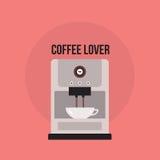 与厨房器具的咖啡壶逗人喜爱的横幅 免版税库存照片