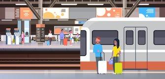 与去人的乘客的火车站举行袋子运输和运输概念的火车 向量例证